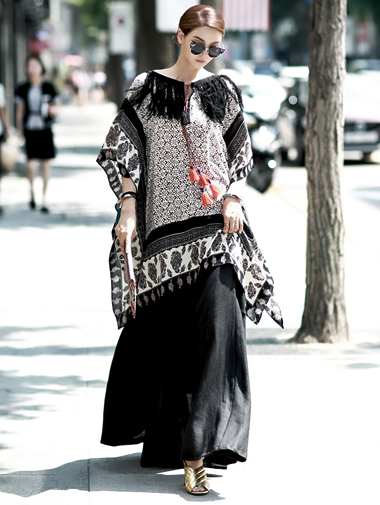 B1769 Bohemian Long Blouse * DINT wearing silk fringe sole * (Same-day delivery)
