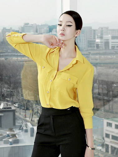 B1966 Gold button pocket Blouse (15reorder)