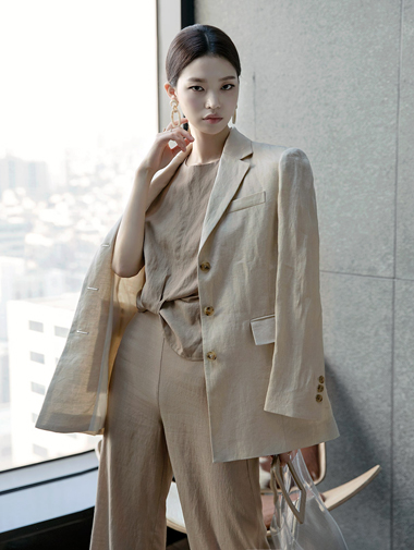 J-4952 Mute Linen Day Modern Jacket * Beige color *