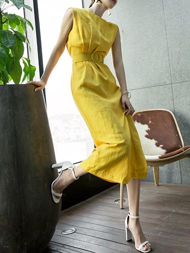 D3567 waist line Linen Dress (Beltset) (23reorder)