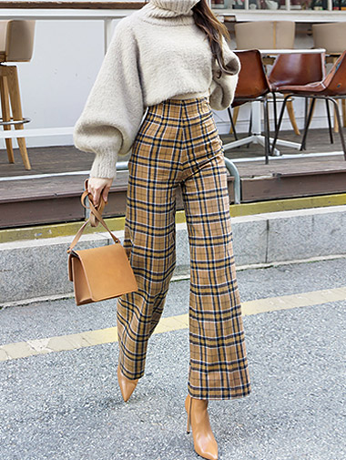 P1937 Window High-waist Check Pants * L size production * (12reorder)