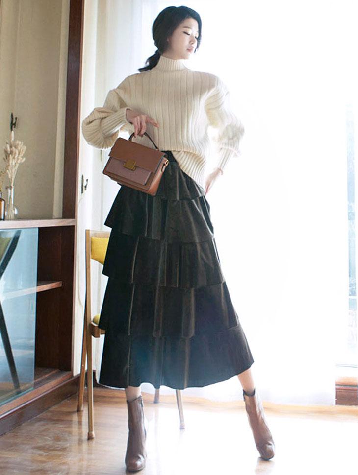 SK1612 Wendy ribbon velvet Skirt * front, back wearable * (129th REORDER)