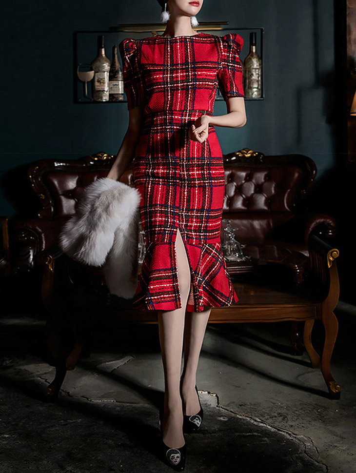 D3699 Tartan Check Patterns Dress * Lsize production * (12reorder)