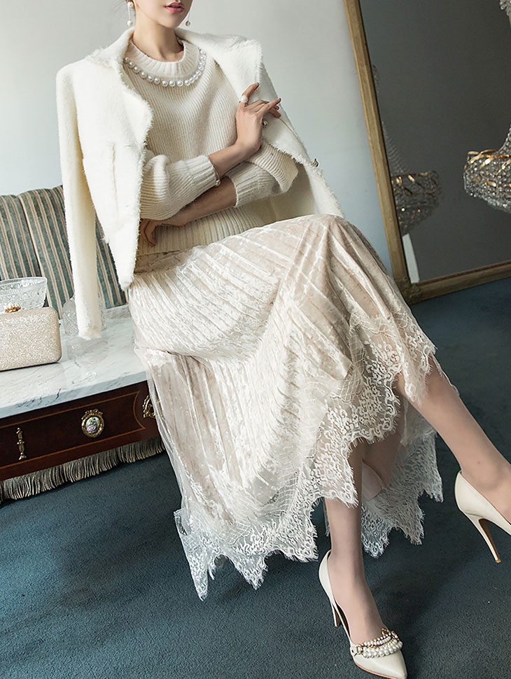 SK1815 Alia Lace wrinkle Skirt (40th REORDER)