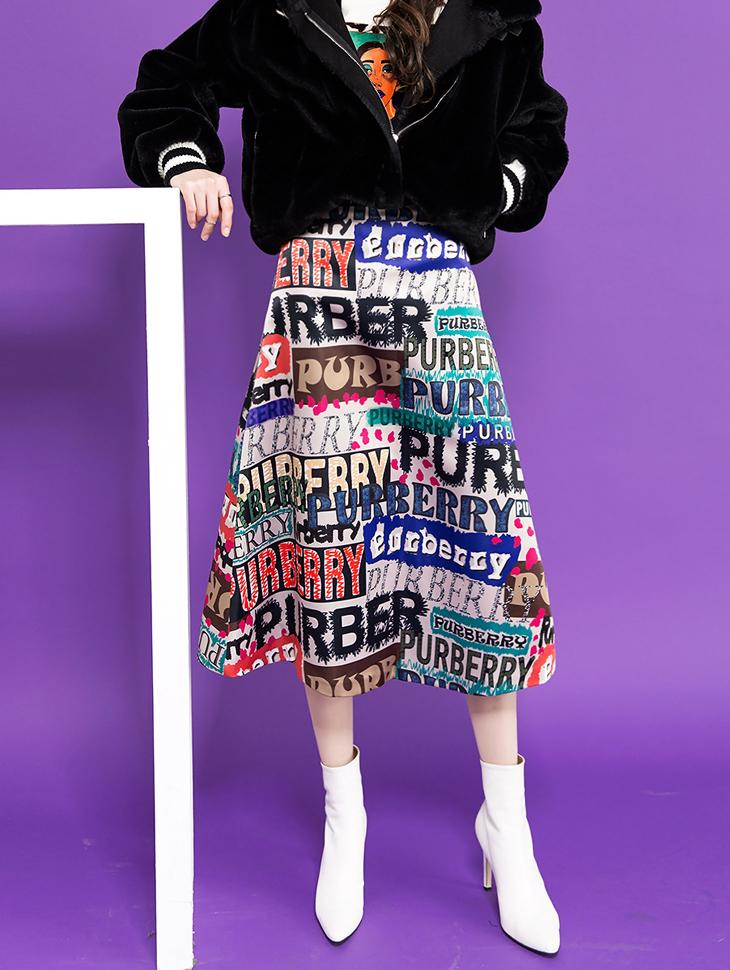 SK1825 unique Lettering A Line Skirt