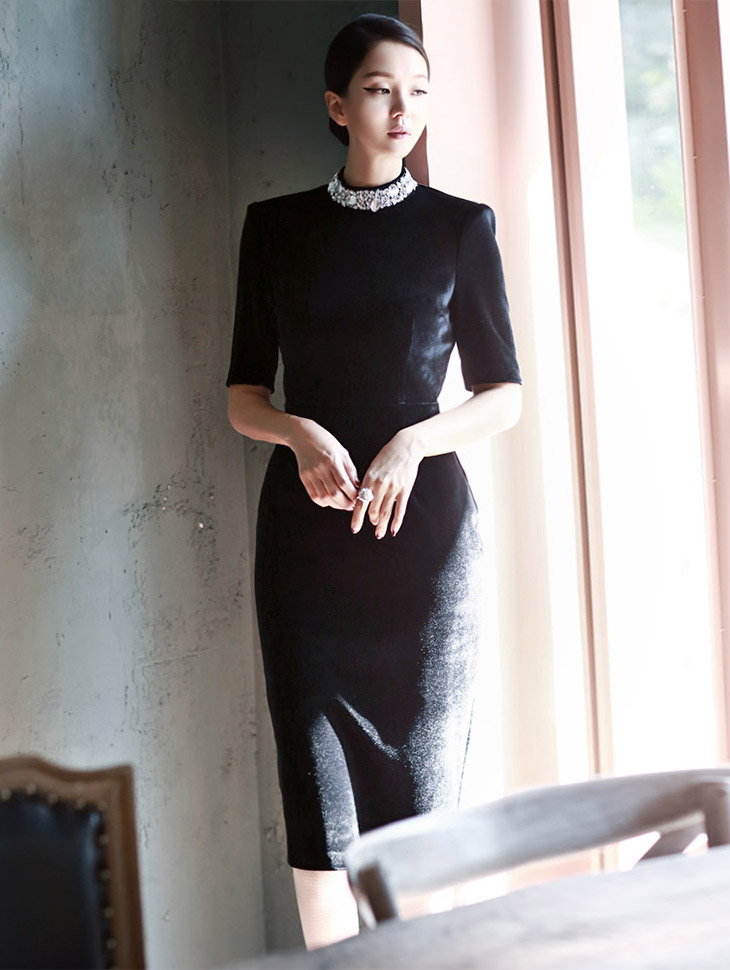 D3143 Jewel Neck Velvet Dress (105reorder) * Lsize production *