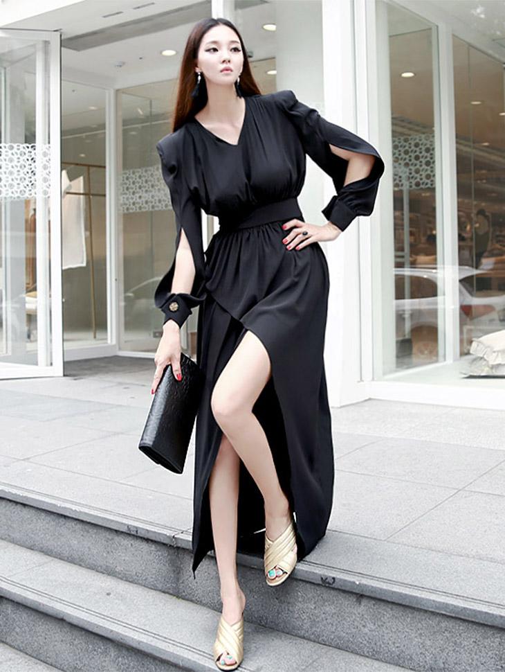 D3370 Neillan Wrap Sleeve Slit Dress (6reorder)