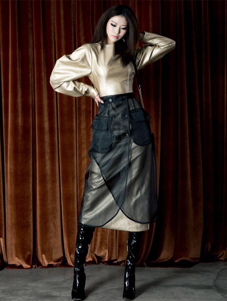 D3450 Wats Puff Leather Slim Dress
