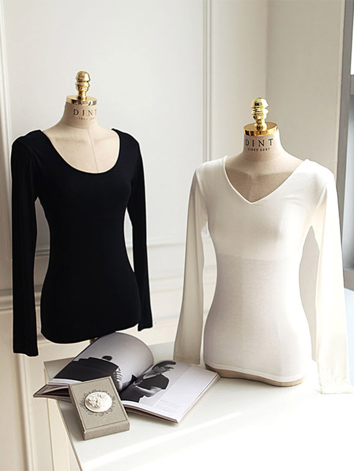 E1695 Both Dip V-neck Top * front, Back Wearable * (53th REORDER)