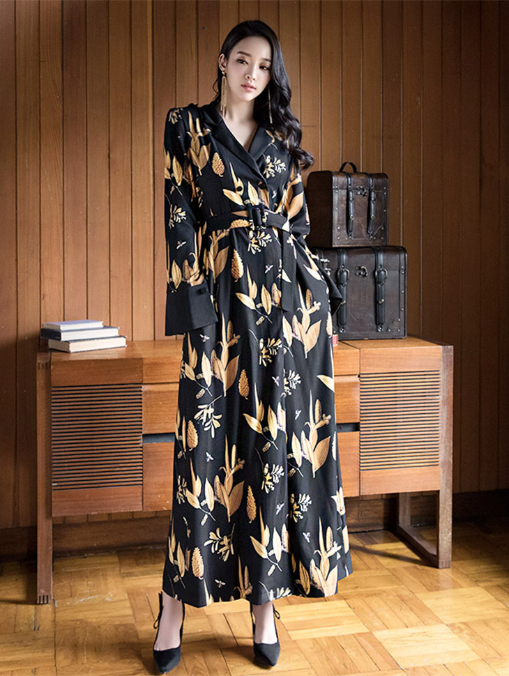 D3491 Leaf Surplice Long Dress (Beltset) (wearable as outer)
