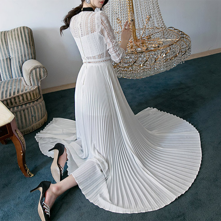 D3512 Collar Line Race Pleats Long Dress (3reorder)