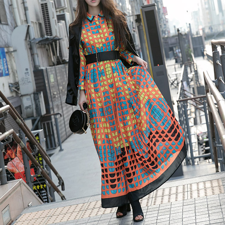 D3545 Harp Round Color Matching Dress (17reorder)
