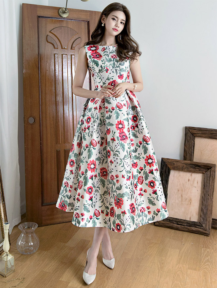 D9004 Marang Flower Volume Long Dress (40th REORDER)