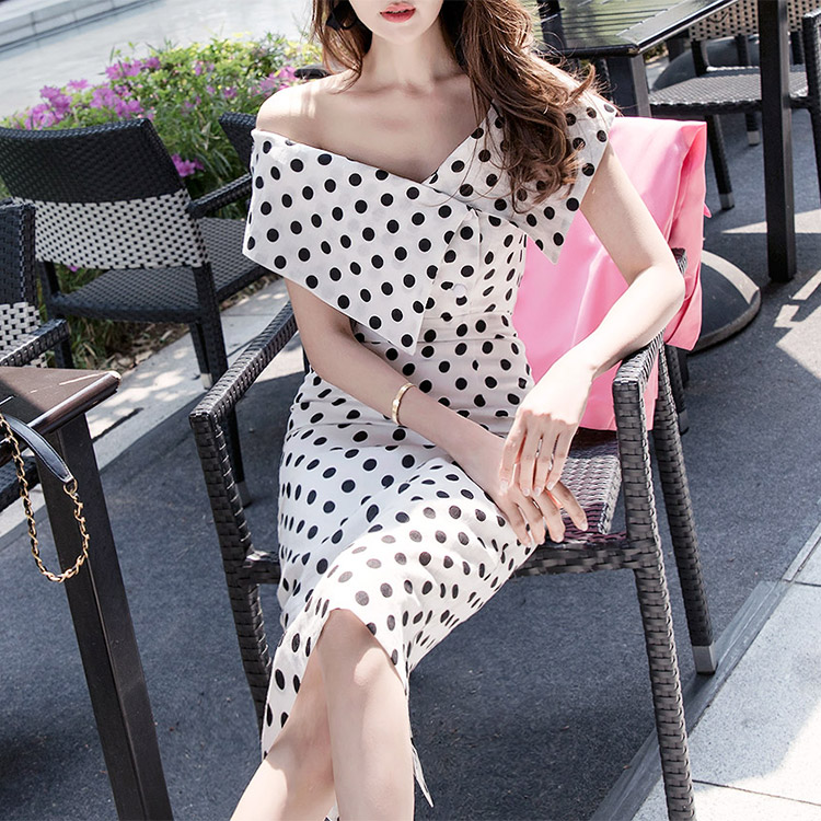 D3557 Big Collar Open Dot Linen Dress (13reorder)