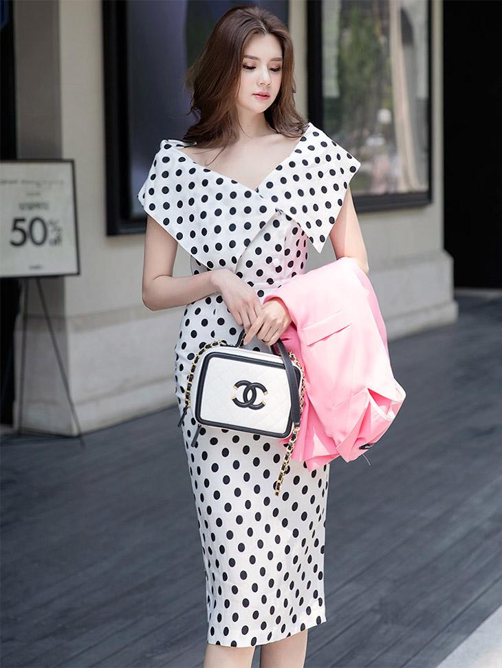 D3557 Big Collar Open Dot Linen Dress (13reorder)