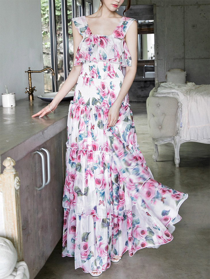 D3576 Flower Smoke Banding Ruffle Dress (3reorder)
