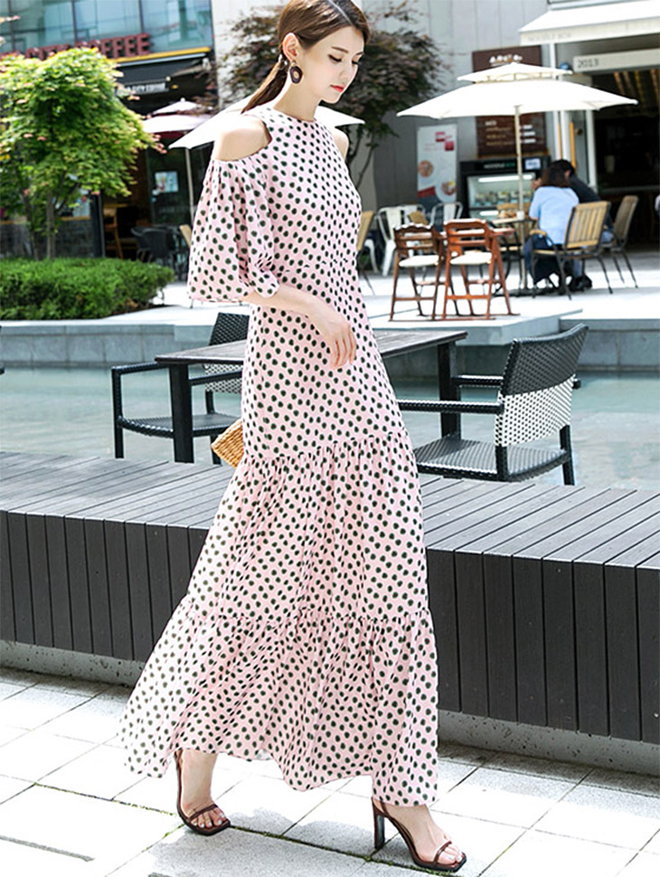 D9012 Flower Double Shoulder Slit Dress (4Round reorder)