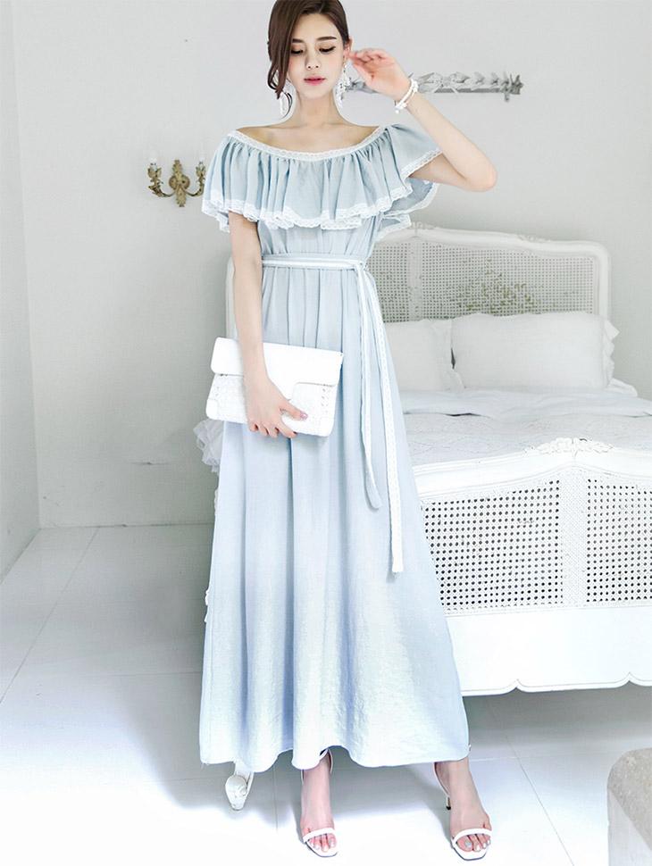 D-4578 Off Frill Lace Dress (Beltset) (3reorder) * Beige color *