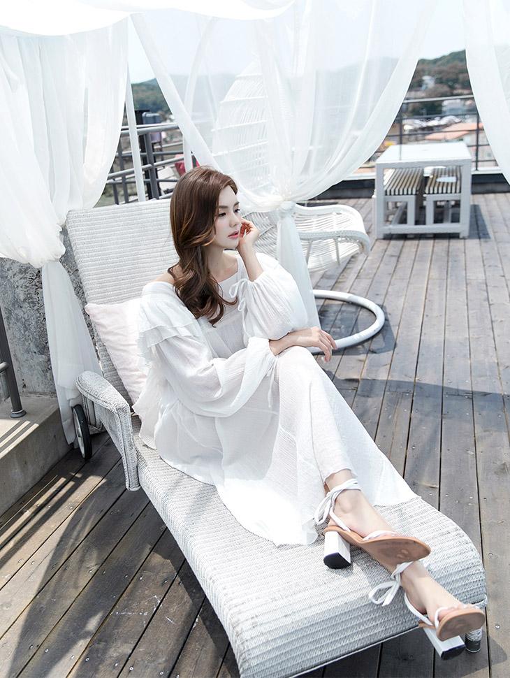 D-4553 Blaine Ruffle Cotton Long Linen Dress * Beige color *