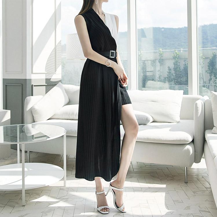 D3622 Surplice unbutton line Dress (Beltset) (10reorder)