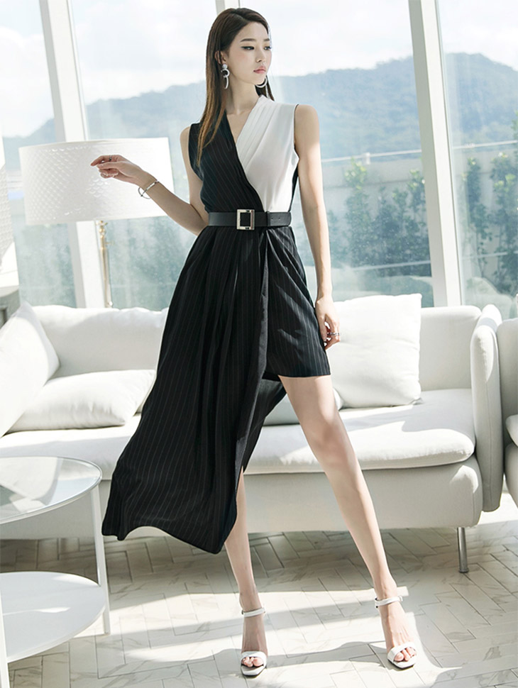 D3622 Surplice unbutton line Dress (Beltset) (10reorder)