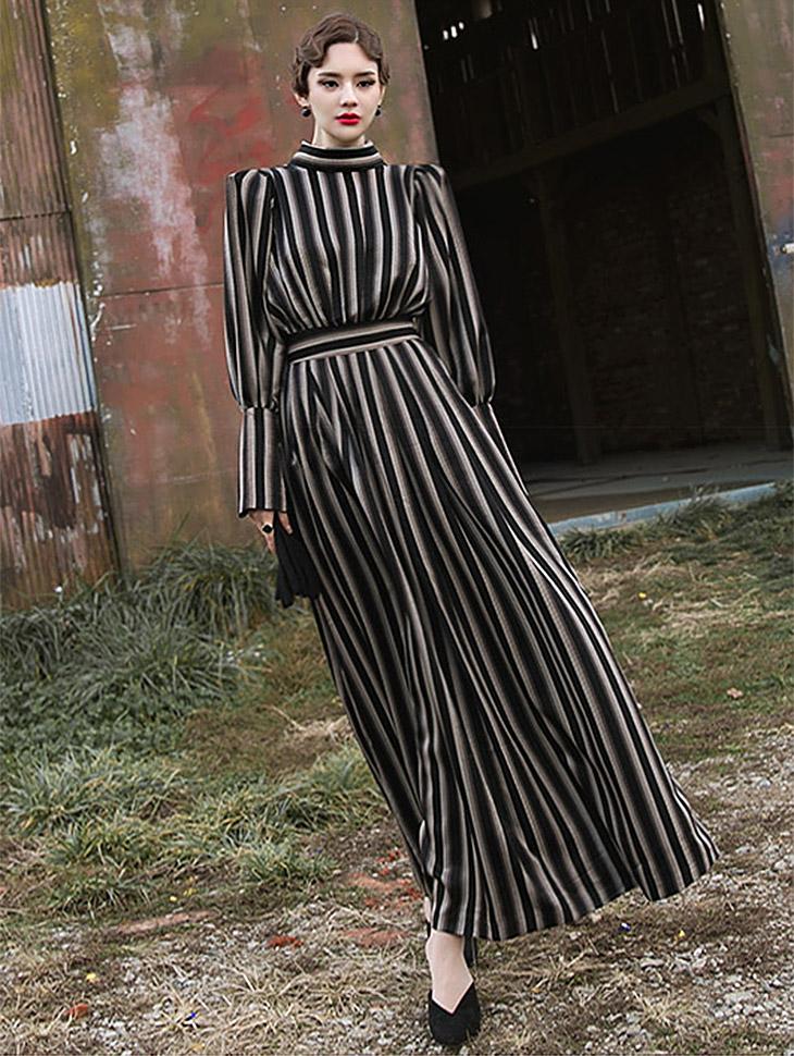 D9044 Liners Patterns mix Maxi Dress (10Round reorder)