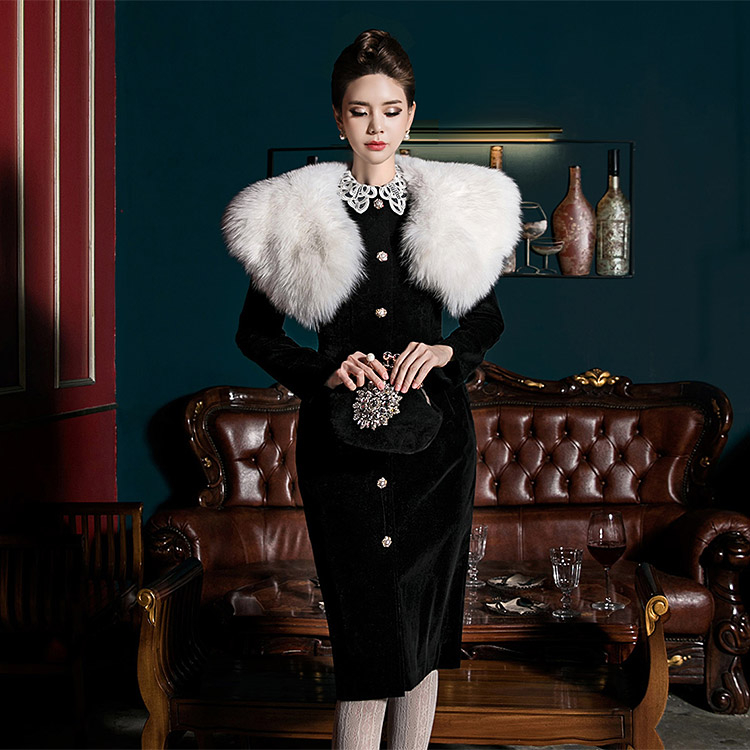 D3691 Lace Collar Slim velvet Dress (18th REOEDER)