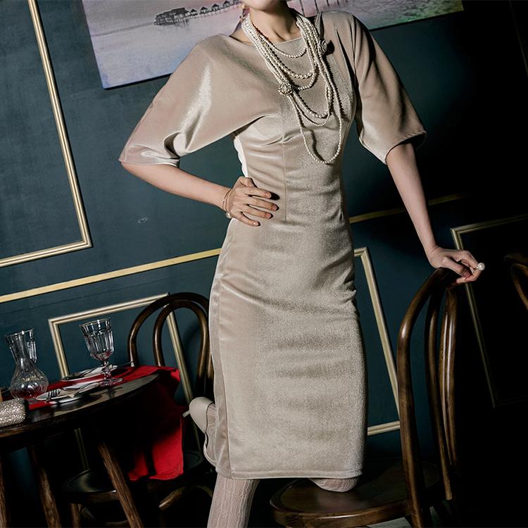 D3695 draw plane neck velvet Dress (22th REORDER)