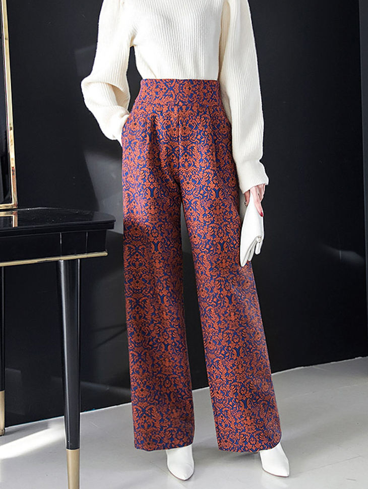 P9014 Unique pattern Jacquard high pants