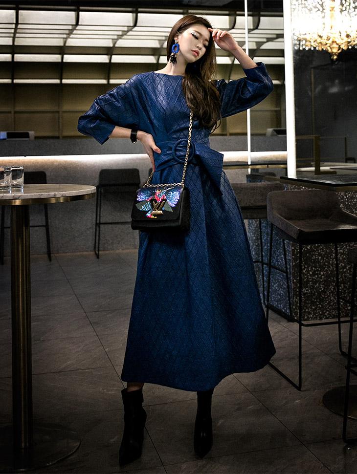 D9046 diamond Leather Dress (Beltset)
