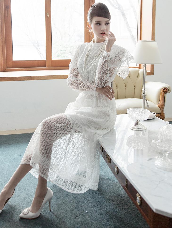 D3703 Blossom Lace Long Dress