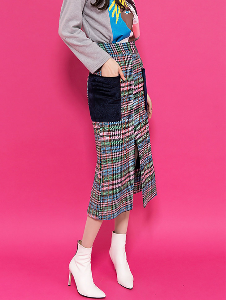 SK1821 Fur Pocket Check Long Skirt (10th REORDER)