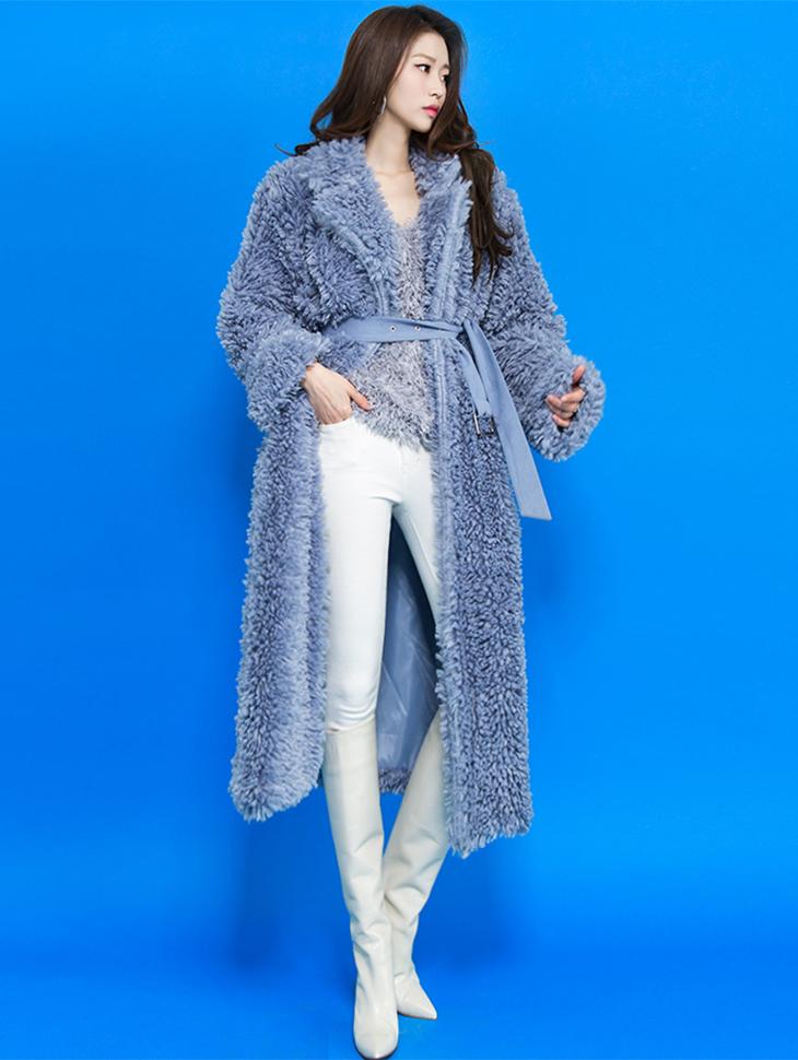 J502 Color Soft Long Fur Coat (Beltset)