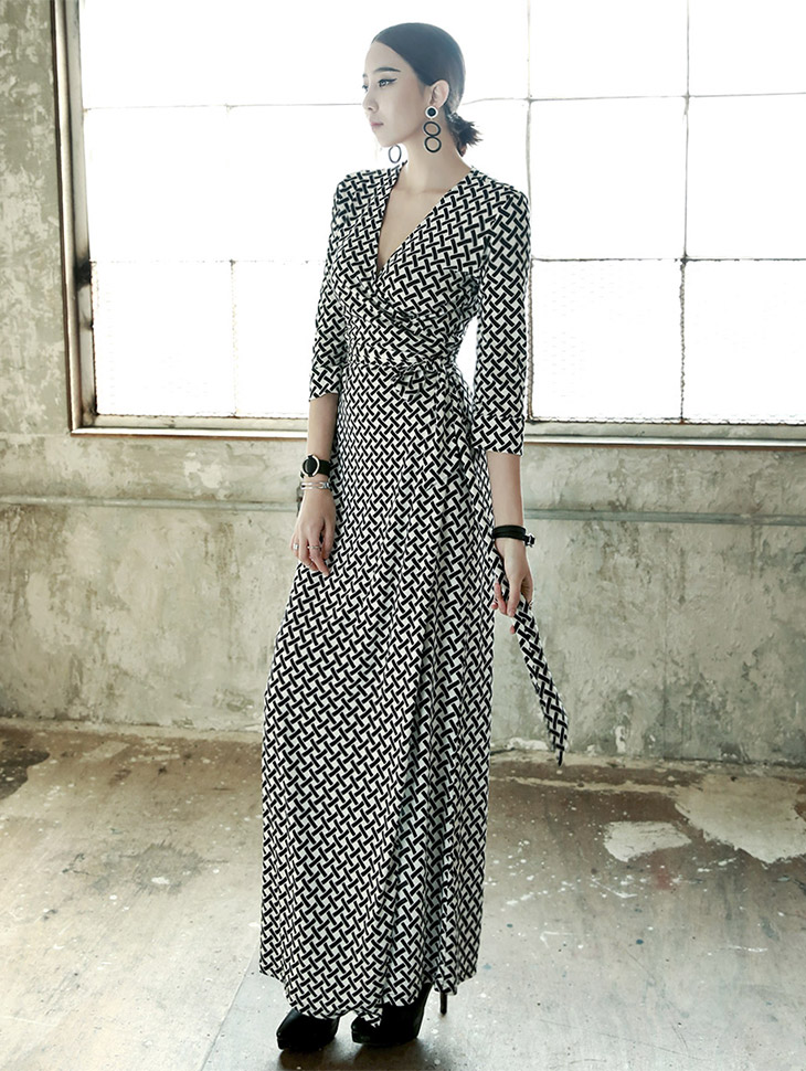 D-3627 unique Patterns Wrap Long Dress (64reorder)