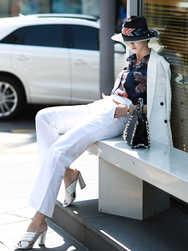P1475 Heavy High-waist Pants (63reorder) * Ivory color *