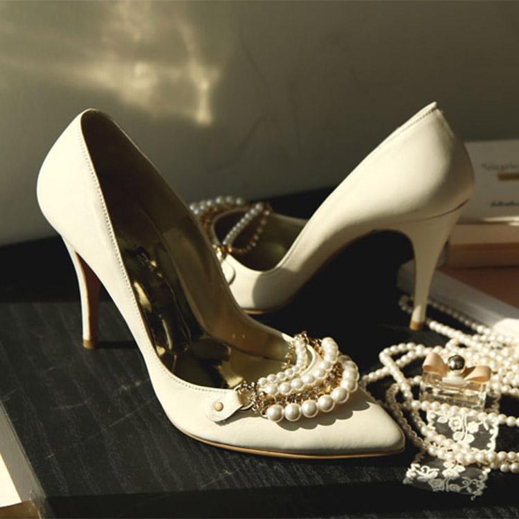HAR-537 Luxury double pearl stiletto heel * HAND MADE *
