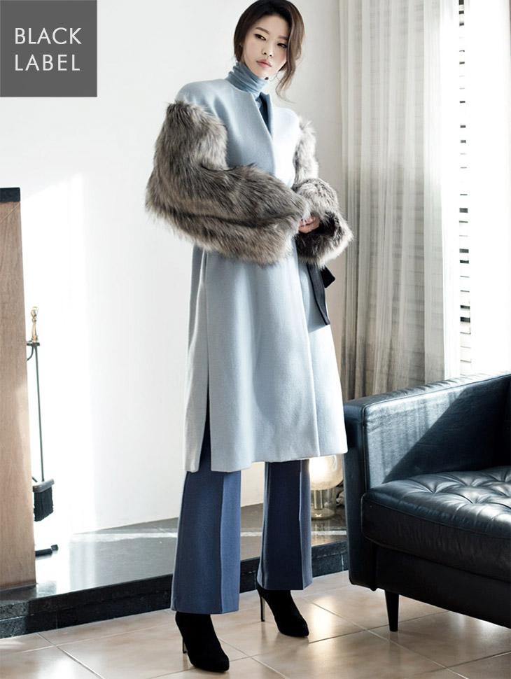 J-4350 sleeveless color combination Fur Coat (Beltset) * Black Label *