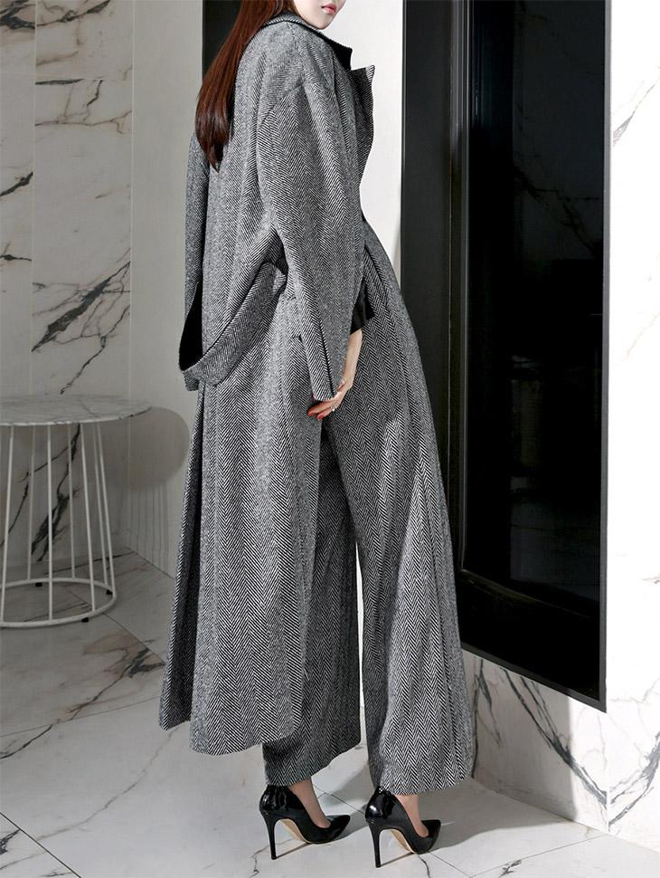 J-4377 Jay Wool Herringbone Long Coat (19reorder)