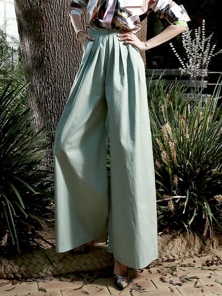 P1636 DiGreen High-waist Wide Pants * Pink, Mint color *