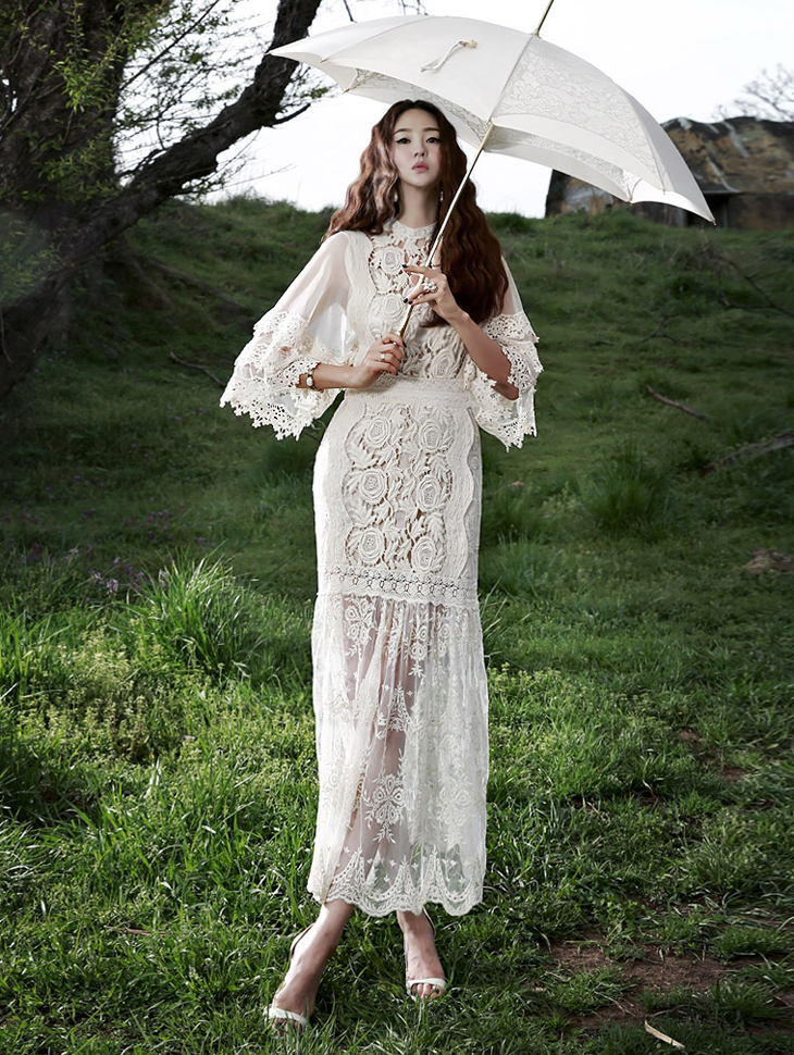 D3261 Sha key point Embroidery Lace Dress (25reorder)