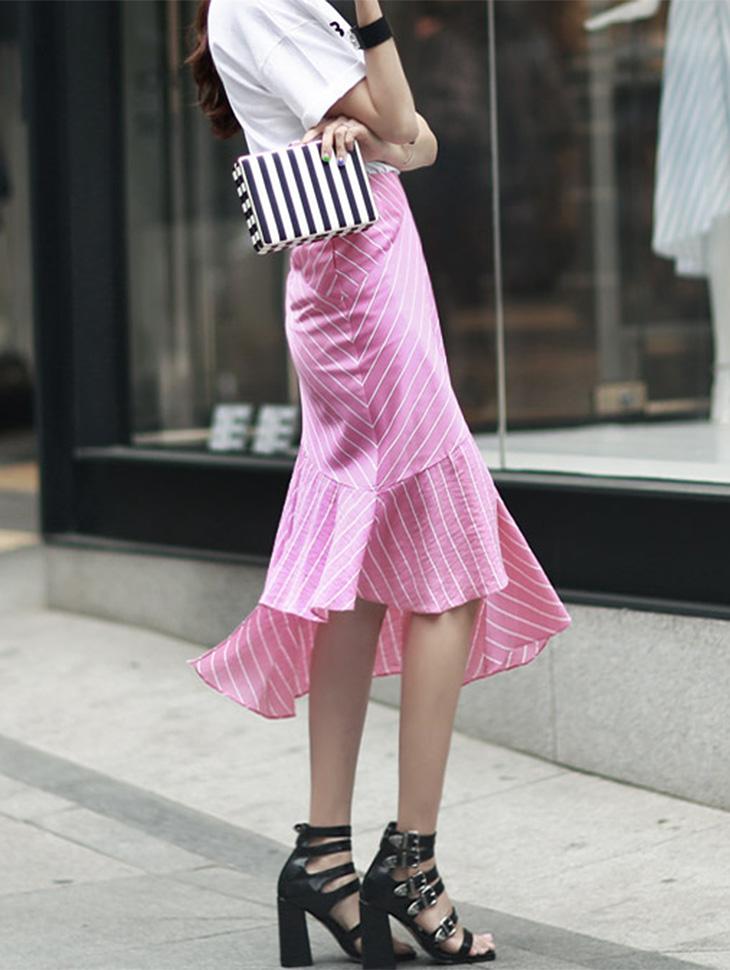 SK1470 Stripe Skirt (3reorder) * Navy color *