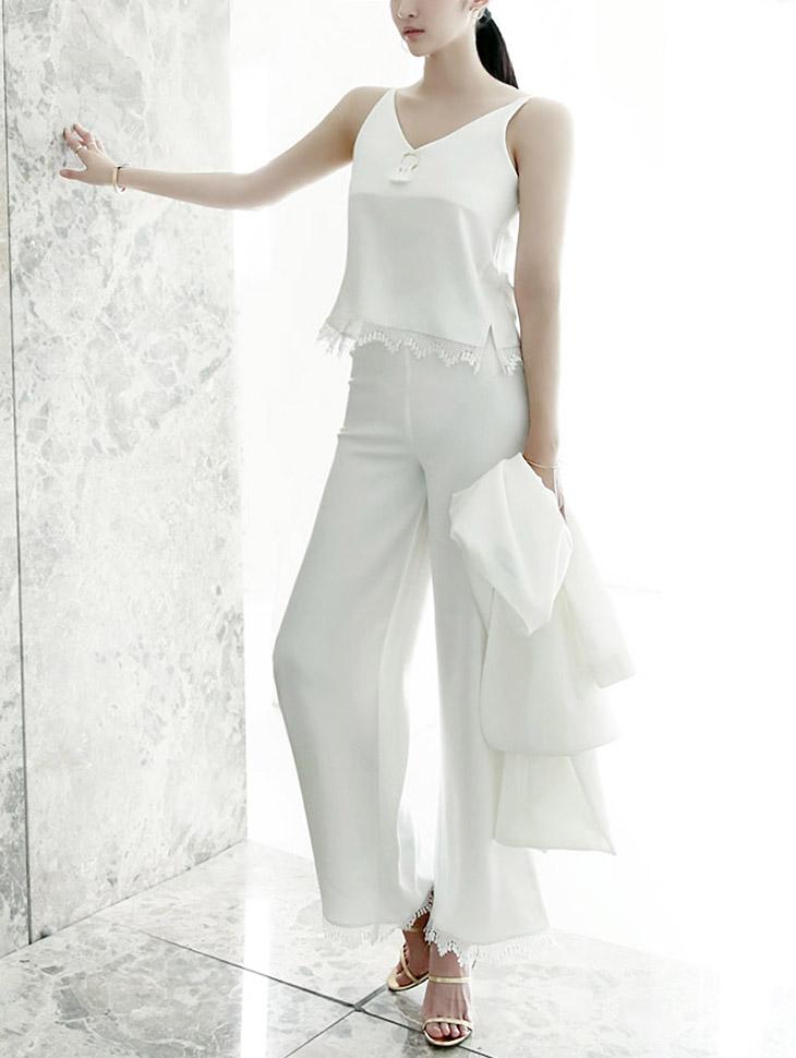 P1710 Tessling Lace Slacks Pants * Ivory color *