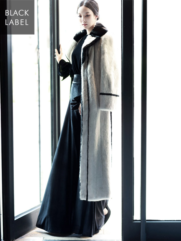 J-4712 New Pole color combination Real mink Long coat * Black Label *