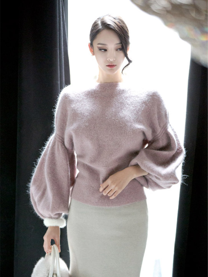 E1682 glow angora Puff Knit Top (46th REORDER)