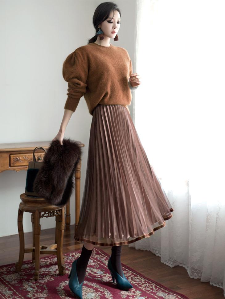 SK1599 Line velvet pleats Skirt (59th REORDER)