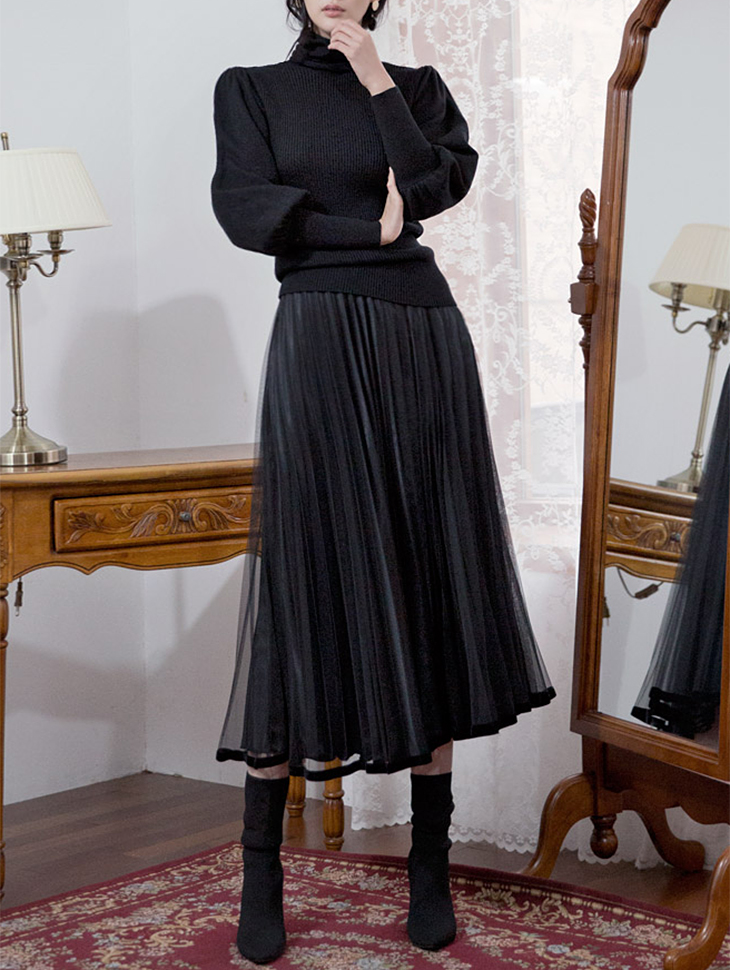 SK1599 Line Velvet pleats Skirt (53th REORDER)