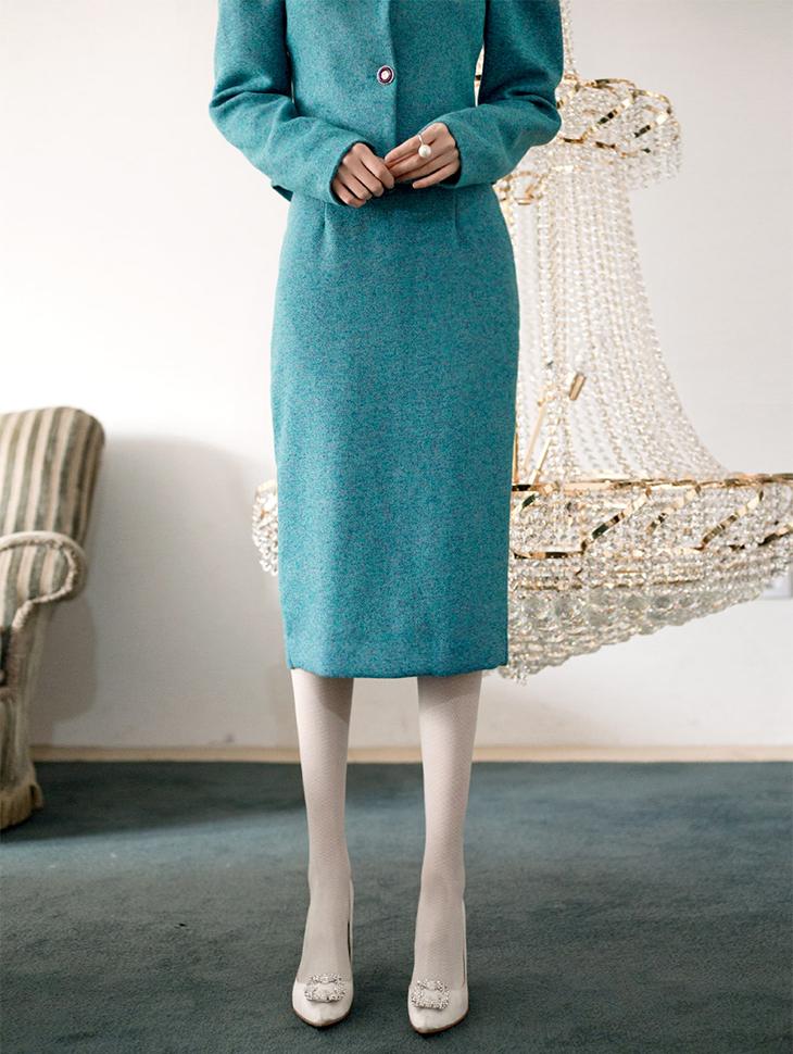 SK1601 Audrey Tweed Long Skirt