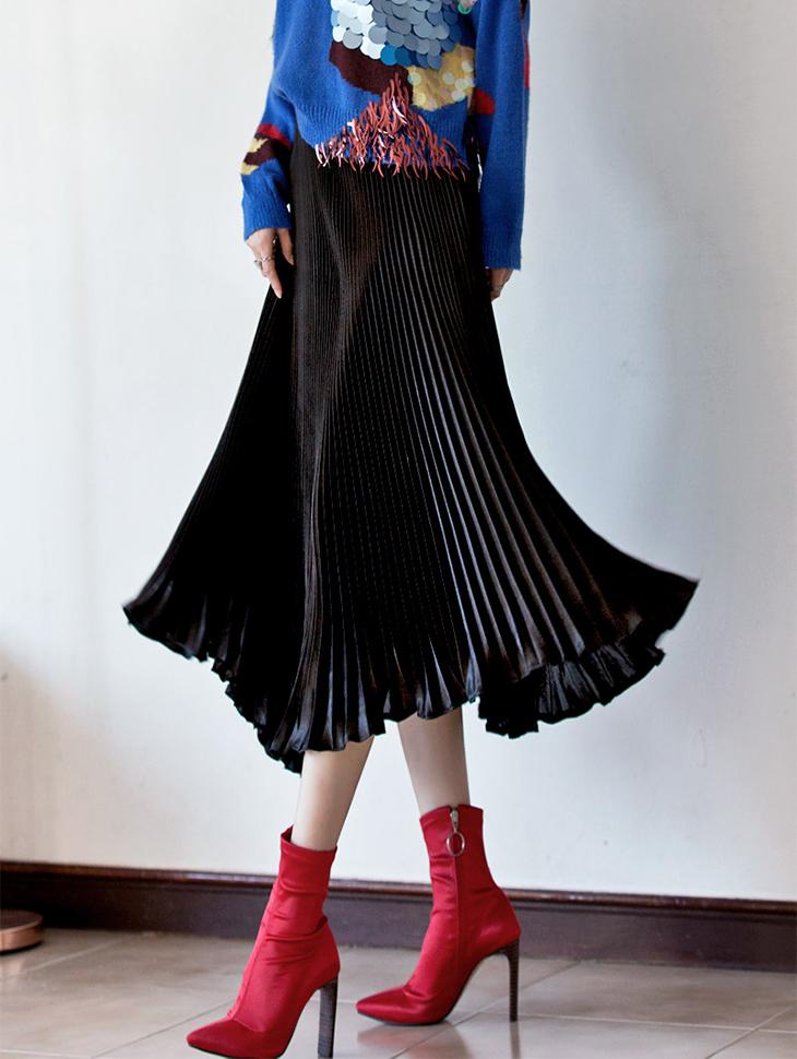 SK1611 Velok pleats Wrinkles Skirt (52th REORDER)