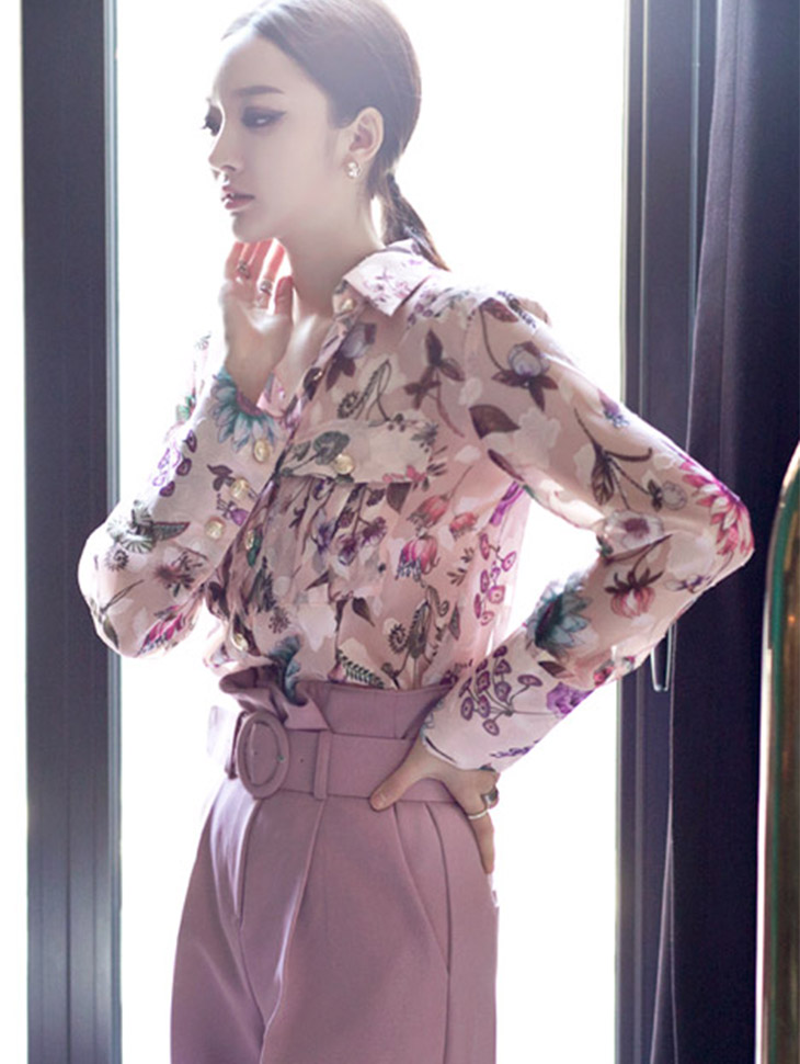 B2156 Gold-Button Flower patterned Blouse (58TH REORDER)