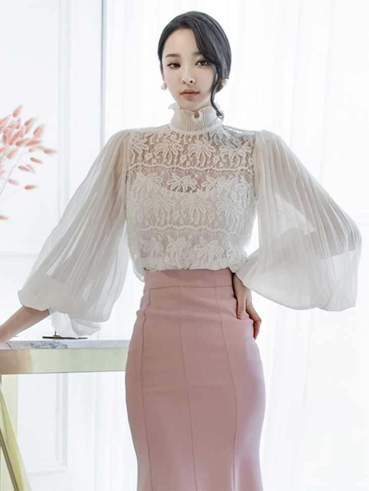 B2165 Lace pleats See-through Blouse (inner set) (27th REORDER)